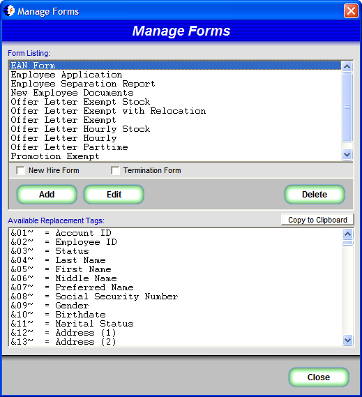 HR QUIK Manage Forms