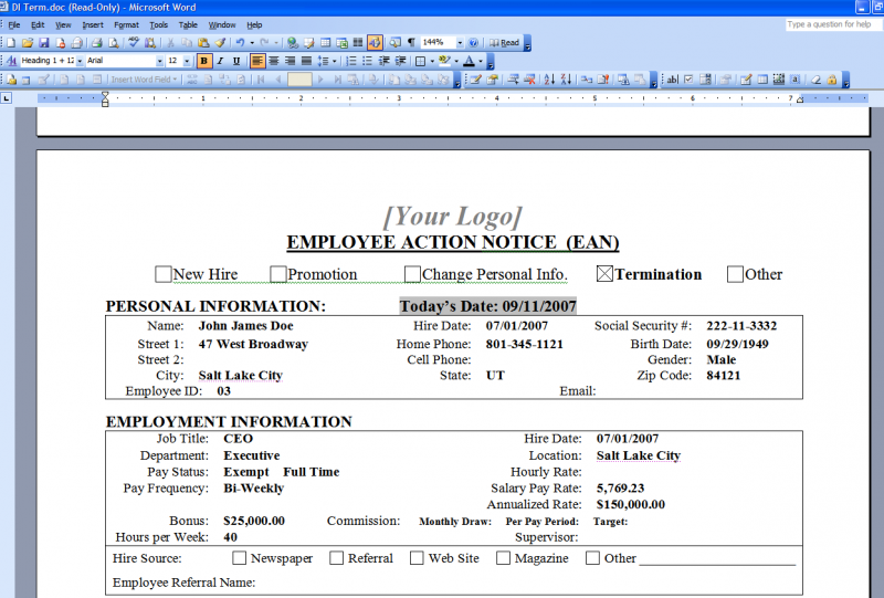 HR QUIK Term Form